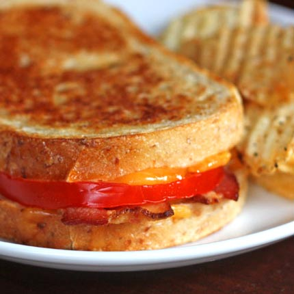 Inspired2cook.com » Grilled Cheddar, Tomato and Bacon Sandwiches