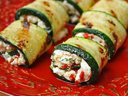 Grilled Zucchini Wraps With Tomatoes And Goats Cheese Recipe ...