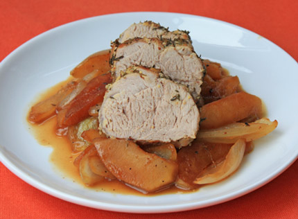 Pork Tenderloin with Roasted Apples and Onions by Inspired2cook.com