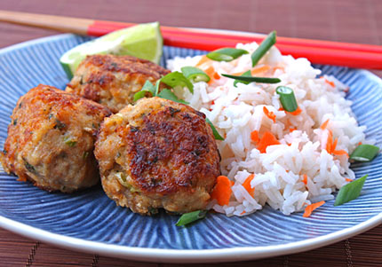 Inspired2cook.com » Asian Turkey Meatballs with Carrot Rice