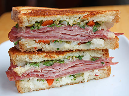 ... .com » Muffuletta-Style Grilled Ham-and-Cheese Sandwiches