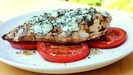 ... .com » Blue Cheese-Grilled Chicken over Balsamic Tomatoes